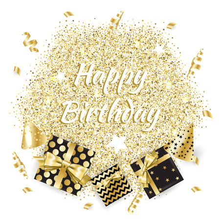Gold gift boxes and confetti on black background. Birthday template. EPS10 Vectores