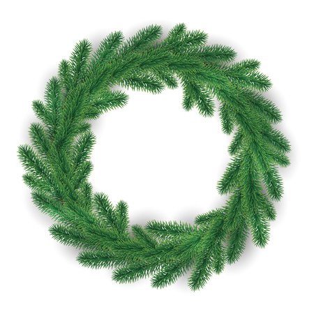 Green Christmas Wreath on white background. Vector image for new year s day, Christmas, decoration, winter holiday.