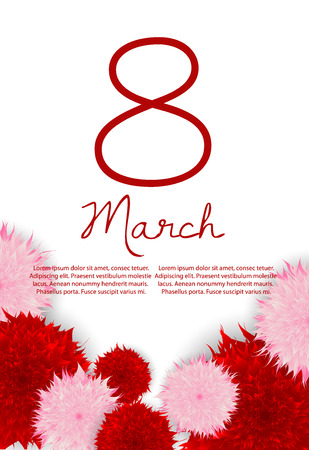 March 8 international women s day. Vector greeting card. Background for flyer, poster, shopping, selling, banner