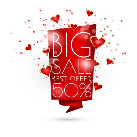 Big sale banner template with hearts design. Stock Illustratie
