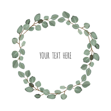 Floral wreath with green eucalyptus leaves. Frame border with copy space.