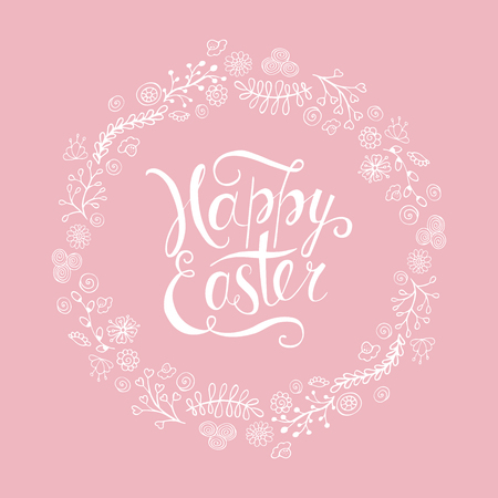 Template vector card with realistic decorated eggss. Handwritten inscription Happy Easter. Wood background. Lettering, calligraphy.