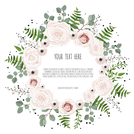 Floral card design with pink, creamy white garden rose. Vector luxury elegant greeting, invite, postcard. Иллюстрация