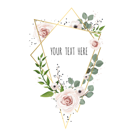Vector Floral card design with elegant bouquet wreath with pink anemone flowers and rose. Greeting design with beautiful spring flowers.