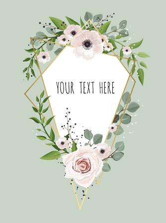 Geometric botanical vector design frame. Natural spring wedding card.