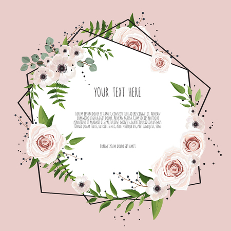 Geometric botanical vector design frame. Natural spring wedding card. All elements are isolated and editable 免版税图像 - 97398720