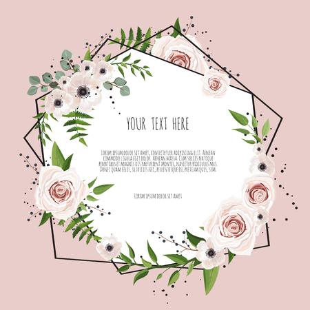 Marco de diseño geométrico botánico vector. Invitación de boda de primavera natural. Todos los elementos son aislados y editables. Ilustración de vector