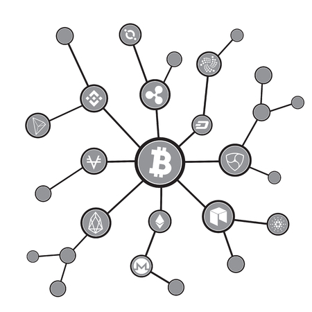 Blockchain blocks with cryptocurrency symbols. Bitcoin digital currency, money virtual cryptography illustration.