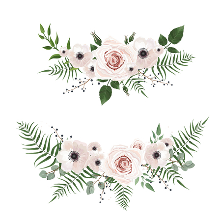 Vector designer elements set collection of green forest leaves, and flowers in watercolor style. Decorative beauty elegant illustration for design Illustration