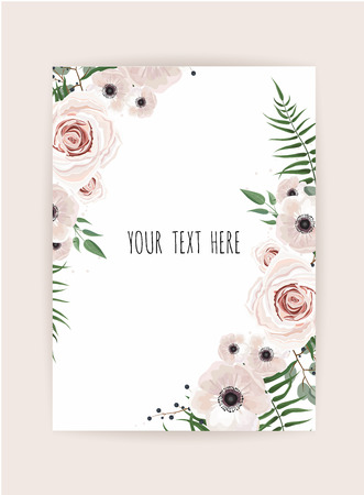 Botanic card with wild flowers, leaves. Spring ornament concept. Floral poster, invite. Vector decorative greeting card or invitation design background. Hand drawn illustration
