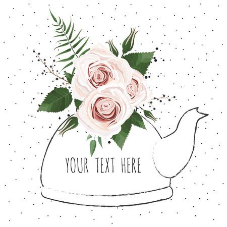 Śliczna ilustracja z bukietem kwiatów w imbryku. Karta wektor.