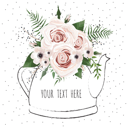 Cute illustration with a bouquet of flowers in a teapot. Vector card illustration.
