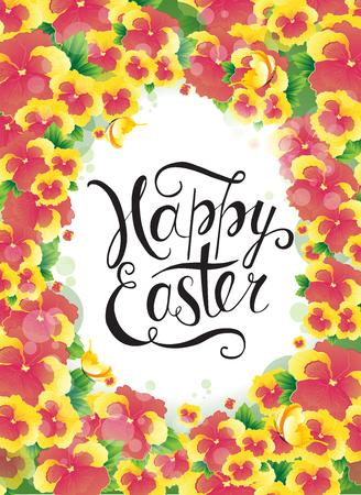 Easter egg hunt party vector poster design template. Concept for banner, flyer, invitation, greeting card, holiday backgrounds. Illustration