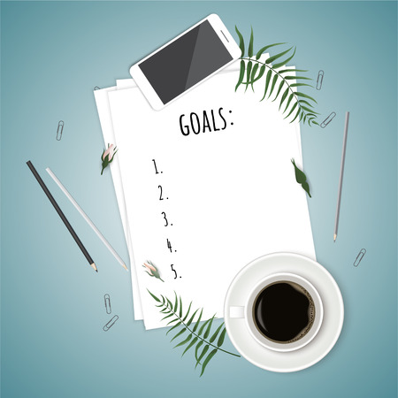 Top view goals list with notebook, cup of coffee on wooden desk Vector illustration.