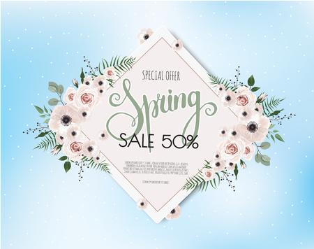 Spring sale design  with beautiful flowers