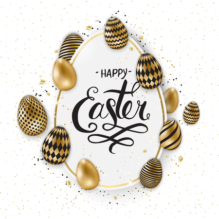 Happy Easter lettering background with realistic golden shine decorated eggs, confetti, golden brush splash. Vector illustration greeting card, ad, promotion, poster, flyer, web-banner.
