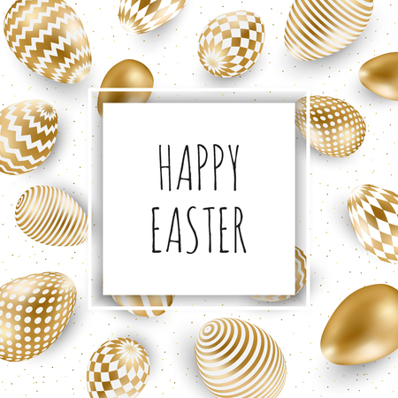 Easter vector illustration with calligraphic greeting and Easter eggs decorated with gold