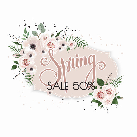 Spring sale background with beautiful flowers. Floral vector design frame.