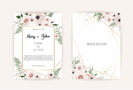 Invitación de vector con elementos florales hechos a mano. Tarjetas de invitación de boda con elementos florales. Conjunto de plantillas de vectores