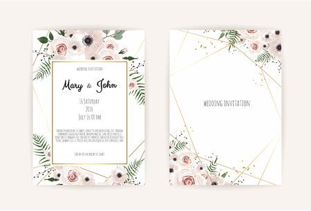 Invitation de vecteur avec des éléments floraux à la main. Cartes d'invitation de mariage avec éléments floraux. Ensemble de modèles vectoriels