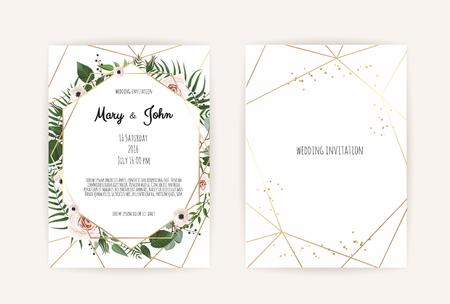 手作りの花の要素とベクターの招待。花の要素を持つ結婚式の招待状。ベクトル テンプレート セット