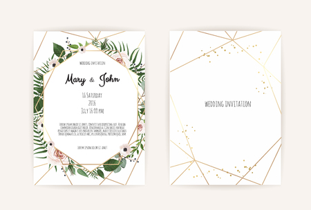 Vector invitation with handmade floral elements. Wedding invitation cards with floral elements. Vector template set Vettoriali