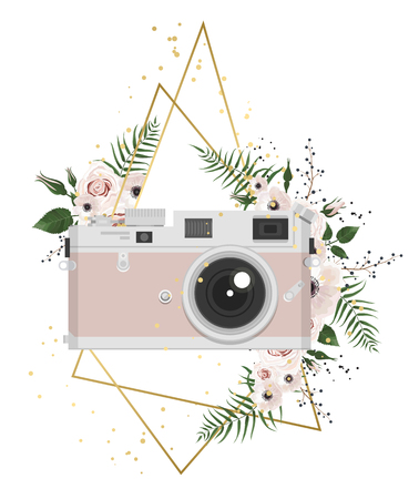 Vintage retro photo camera in flowers, leaves, branches on white background.