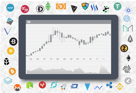 Graphic diagram and cryptocurrency on tablet. Trading design concept. Vector illustration. Flat design.