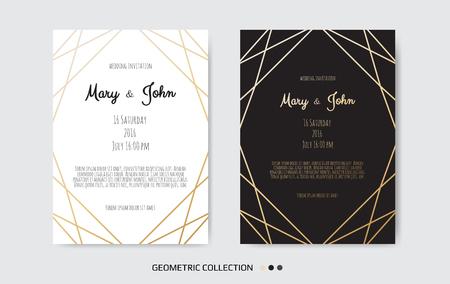 Wedding Invitation card design with Geometrical art lines Illustration