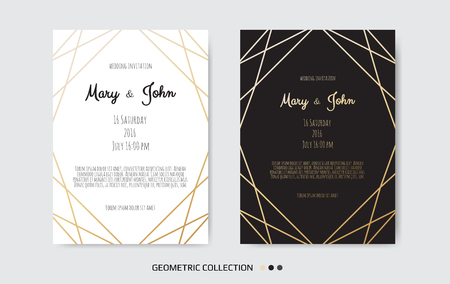 Wedding Invitation card design with Geometrical art lines 向量圖像
