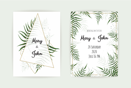 Wedding Invitation with green leaves and eucalyptus branches. Illustration