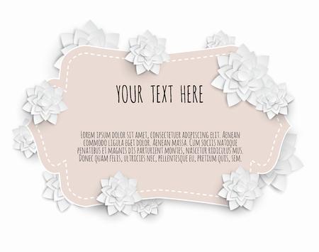 Paper art floral frame. 3d flower, paper flowers, pastel color palette, botanical background, isolated clip art, bouquet, floral border. Ilustração