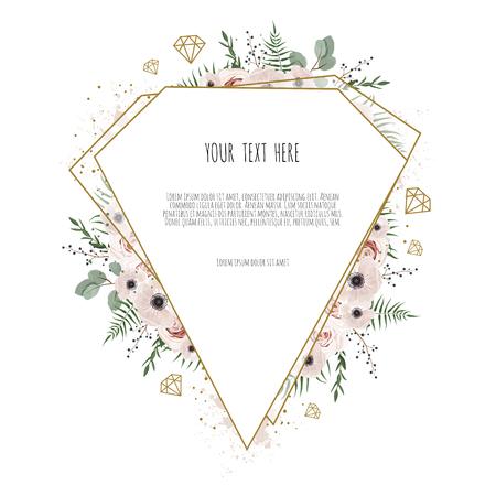 Carte avec feuilles et cadre géométrique. Affiche florale, invitez. Carte de voeux décorative de vecteur, arrière-plan de conception d'invitation.
