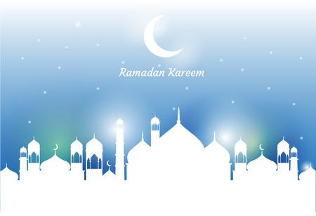 Ramadan Kareem beautiful greeting card. Ramadan Kareem background with moon, stars, lantern, mosque in the clouds. Illustration