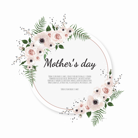 Mother's day greeting card with flowers background.