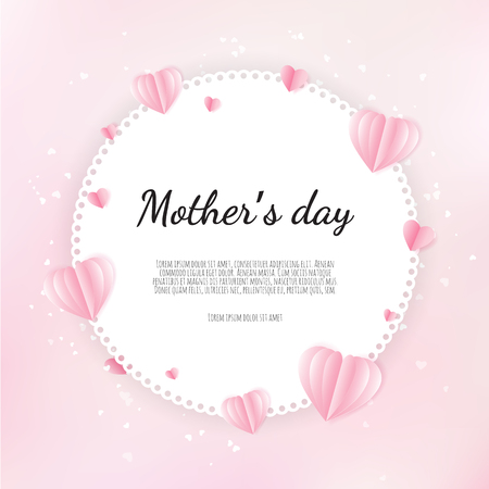 Happy Mother s Day greetings design with paper hearts background.
