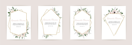 Set botanic card with wild flowers, leaves. Floral poster, invite. Vector layout decorative greeting card or invitation design background. Banco de Imagens - 101048880