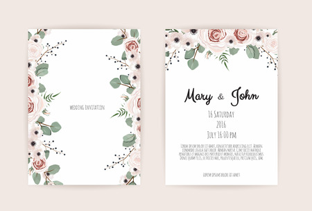 Floral Wedding Invitation. Botanical card vector Design garden pink, peach Rose flower, anemones ,green Eucalyptus, tender greenery.