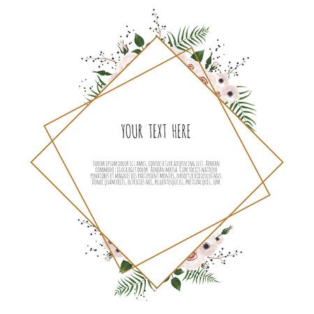carte botanique avec fleurs sauvages, feuilles. Concept d'ornement de printemps. Affiche florale, invitez. Carte de voeux décorative de mise en page vectorielle ou fond de conception d'invitation.