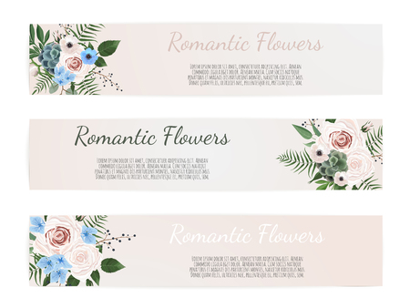 Vector set. Vintage labels with flowers. Frame border with copy space.