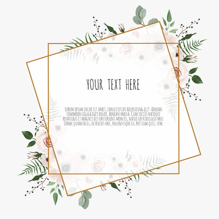 card with leaves and geometrical frame. Floral poster. Floral poster, invite. Vector decorative greeting card, invitation design background. Vettoriali