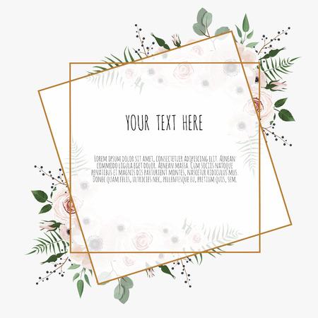Karte mit Blättern und geometrischem Rahmen. Blumenplakat. Blumenplakat, einladen. Vektor dekorative Grußkarte, Einladungsdesignhintergrund.