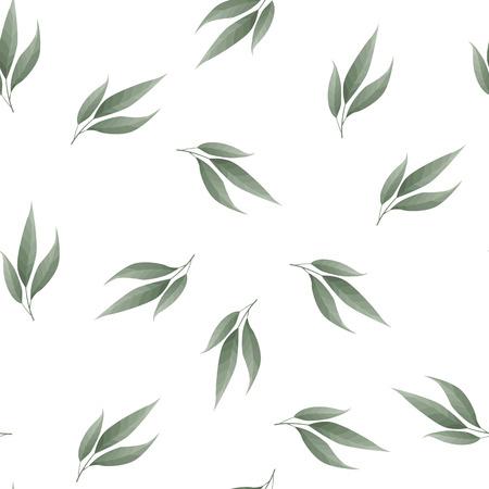Bay leaf seamless vector pattern. Food background