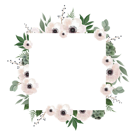 Floral wreath with green eucalyptus leaves, flower rose, anemone . Frame border with copy space. eps10  イラスト・ベクター素材
