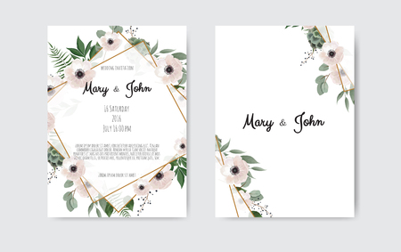 Botanical wedding invitation card template design, white and pink flowers on white and black background