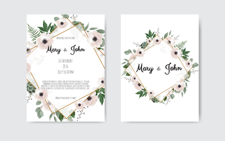 Wedding invite, invitation. Botanical wedding invitation card template design, white and pink flowers. Vector template set Stock Illustratie