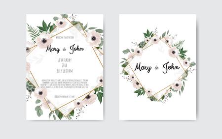 Wedding invite, invitation. Botanical wedding invitation card template design, white and pink flowers. Vector template set 矢量图像