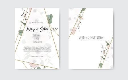 Invito a nozze, invito. Disegno del modello di carta di invito matrimonio botanico, fiori bianchi e rosa. Insieme del modello di vettore