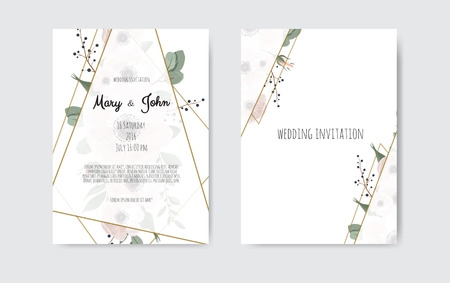 Wedding invite, invitation. Botanical wedding invitation card template design, white and pink flowers. Vector template set Vettoriali