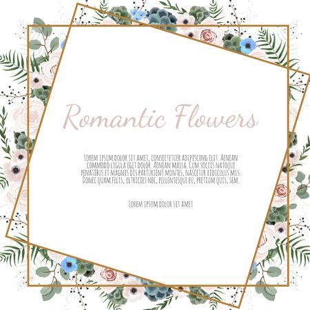Karte mit Blättern und geometrischem Rahmen. Blumenplakat, einladen. Vektor dekorative Grußkarte, Einladungsdesignhintergrund. Vektorgrafik